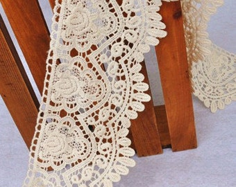 Beige Cotton Lace Trim Retro Scalloped Lace Trim Exquisite Embroidered Lace 4.33 Inches Wide 1 Yard Costume Headware Supplies
