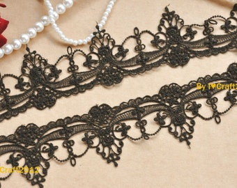 Black Venice Lace Chic Retro Gothic Aulic Lace Trim 1.96 Inches Wide 2 Yards Costume Headware Supplies