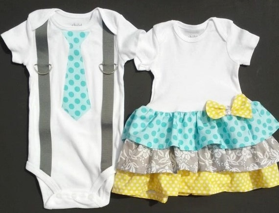 """Perfect Pairz Boy Girl Twin Outfits Tiffany and Travis. by Perfect Pairz. out of 5 stars 3. $ $ 33 Some sizes are Prime eligible. FREE Shipping on eligible orders. See Size & Color Options. Funny Threadz Kids Womb Mates"""" Cute Boys or Girls Twin by Funny Threadz Kids. out of 5 stars"""