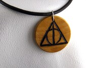 Harry Potter Deathly Hallows Symbol Pyrography Necklace Pendant on Leather Cord
