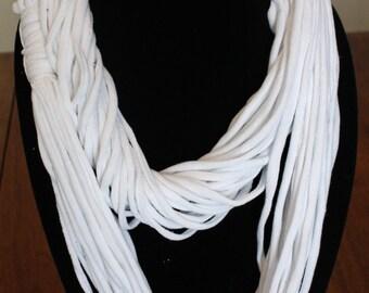 Skinny string infinity scarf in White