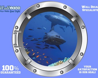 Shark 2 Porthole Wall Decal - Porthole Vinyl Wall Decal kids Bedroom Decor by Wall Jems Wall Decals