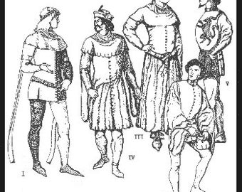 PP23 -  Men's Cotehardies and Sideless Surcoats Sewing Pattern by PeriodPatterns