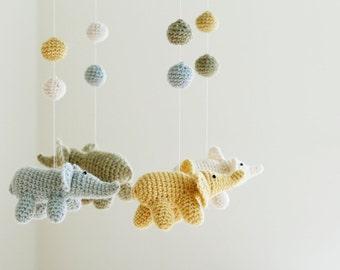 Baby Mobile, Crochet Elephant Mobile, Nursery Mobile, Baby Crib Mobile