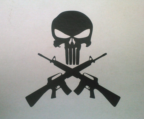 Items similar to punisher skull and cross guns ar15 m16 6 t vinyl items similar to punisher skull and cross guns ar15 m16 6 t vinyl decal or sticker skull and crossbones on etsy publicscrutiny Gallery