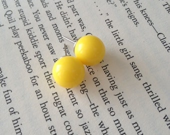 Yellow Round Ball Earring Studs