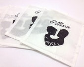 Fabric Drink Coasters Valentines Day Silhouette Set of 6 One of a Kind