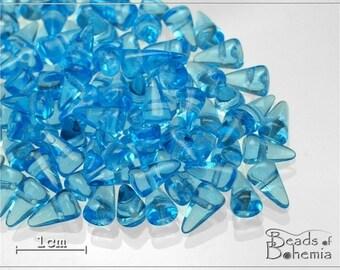 Aquamarine Czech Glass Baby Spike Beads 8x5mm, 24 pcs (7015)