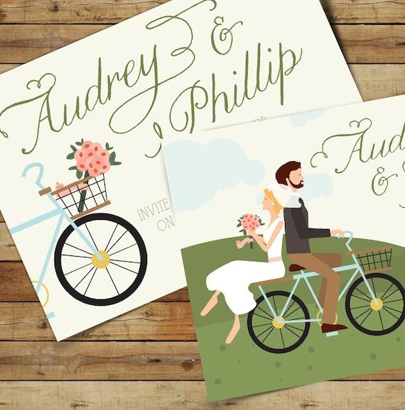 Ride On Bike Wedding Invitation Suite /// Illustrated Couples