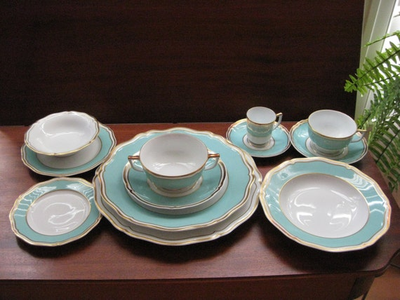 French Limoges China Raynaud Polka Patterns 108 Pieces