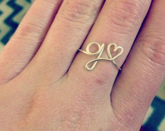 """Handmade 'Letter Heart"""" Rings"""