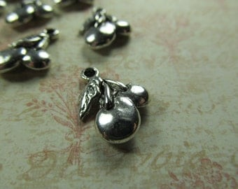 Antique Silver Cherry Charms Findings Beads Trinkets Baubles