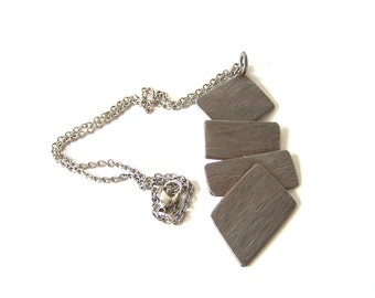 Eco Friendly Metal Necklace wih Pendant Upcycled From Stainless Steel