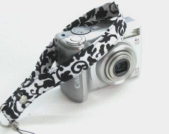 Point and Shoot Wrist Strap, wrist strap, small camera lanyard, Black and White Damask,