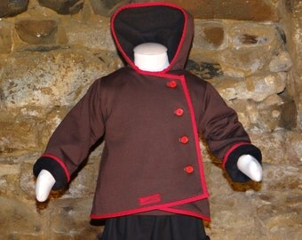 Coat ptit boy hood sprite réverseible in polar and thick Jersey, customizable size.