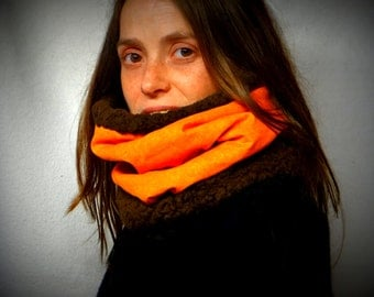 Big collar, snood, choker reversible in brown one-size, orange wig and cotton.