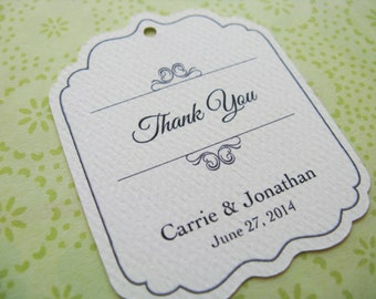 Wedding Favor Tag, Personalized Gift Tags or Shower Favor Tags, Die Cut Custom Labels, Vintage Gift Card - Set of 20