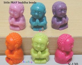 Resin little PRAY buddha beads, set of 6 colors, 15 x 21mm.(V-130)