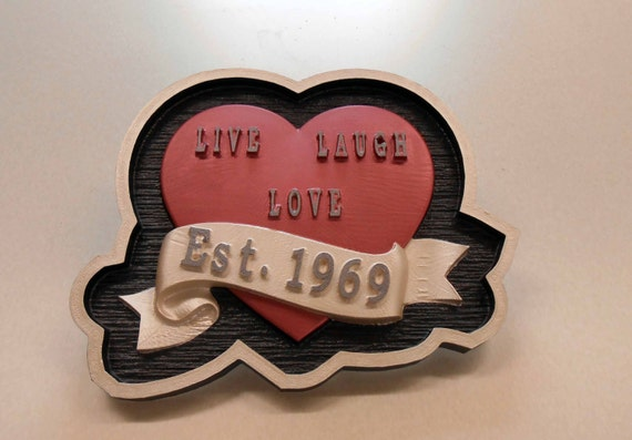 Live, Laugh, Love Heart, Wedding Plaque, Anniversary Gift,Carved HDU, Hand Painted, Custom Order,Personalized