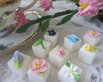 Springtime Decorated Floral Sugar Cubes