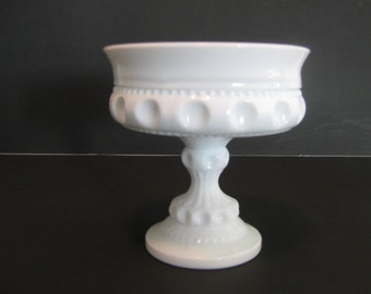 Indiana Glass Pedestal Compote - King's Crown Pattern