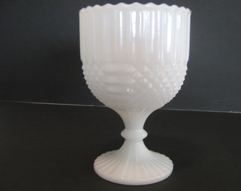 Milk Glass Diamond Pattern Goblet