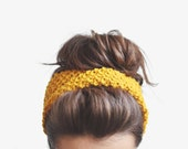 SALE / 10% off / Yellow headband, ear warmer / Hand knitted - Plexida