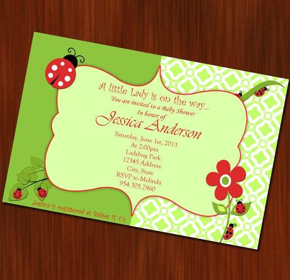 ladybug theme baby shower invitation little lady baby shower