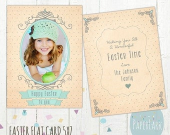 Easter Card Template - Photoshop Template - AE005 - INSTANT DOWNLOAD