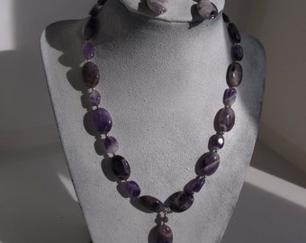 Amethyst and Sterling silver Necklace and Earrings