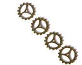 Antique Bronze Steampunk Clock Gear Charms- Set of 4  -14-