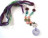 Boho Necklace, ribbon necklace, purple ribbon, ceramic necklace - ArtIncendi