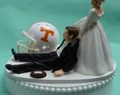 Wedding Cake Topper University of Tennessee Volunteers UT Vols Football Themed w/ Garter Bride Dragging Drags Groom Humorous Funny Humor