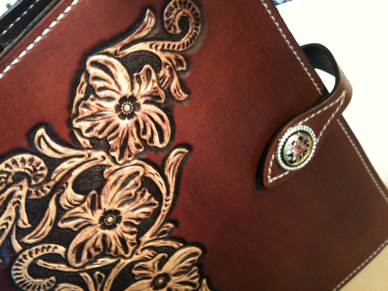 hand tooled leather bible or book cover
