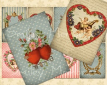 Instant download Vintage Valentine, digital Collage Sheet JPEG, 300 dpi 8 Hang, Gift Tags, Aceo Cards, Jewelry Holders