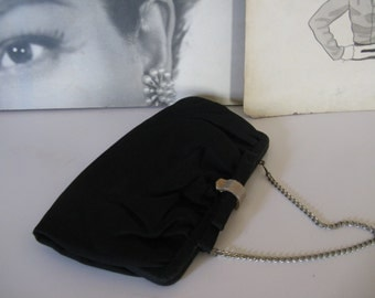 50s / 60s Black Handbag with Chain Strap