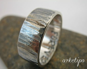 Personalized silver Ring / Band. Custom silver ring. Hammered, oxidized sterling silver Ring, for women / for men..  You will love it..