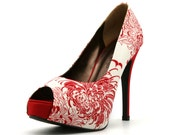 Red Floral High Heels. Red and White High Heels