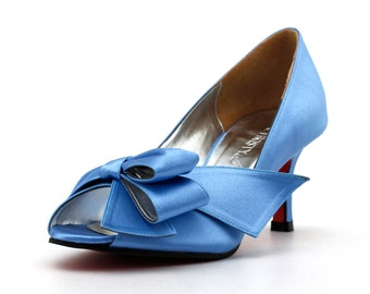 Something Blue Wedding Shoes, Something Blue Shoes, Victorian Blue Wedding Heels, Custom Made Blue Heels, Blue Heels with Red Sole