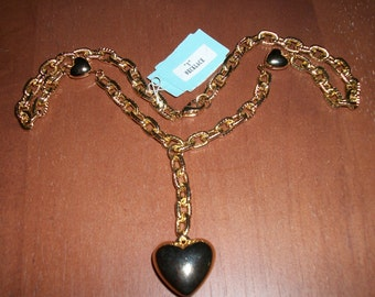 Vintage Gold-tone Puffy Heart Y Necklace