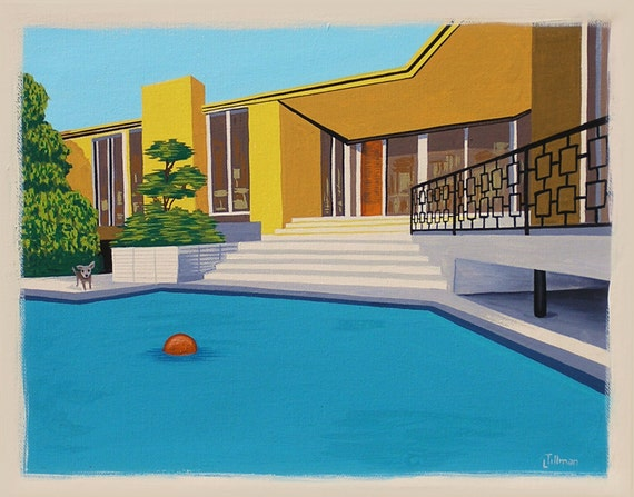 Mid Century Modern Eames Retro Limited Edition Print from Original Painting Chihuahua Pool