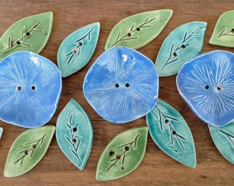 """LEAF BUTTONS - Moss or Teal - Set of 8 - (btwn 1""""- 1.25"""") - handmade ceramic, leaves, flowers"""