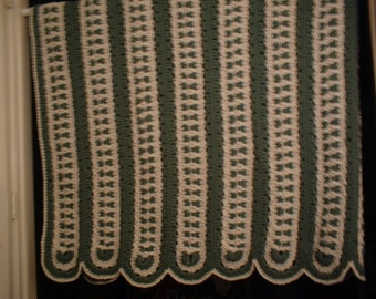 """Hand Crocheted Afghan """"Bow Ties"""" - Forest Green & White - 58"""" x 80"""""""