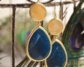 Double Jewel Drops Deep Blue Jade and Yellow Quartz. Peacock Collection