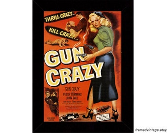 Noir Movie Poster Art: Gun Crazy, Framed Print, Art Print, Film Noir