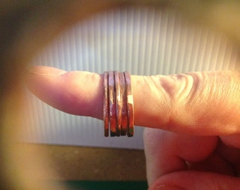 Hammered Copper stacker ring set  of three RG0003