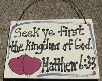 Crafts Wooden Scripture Sign Seek ye First the Kingdom of God
