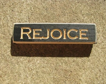 Primitive Country 617BLK Rejoice Block  Shelf Sitter Wood Signs