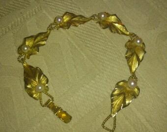 vintage leaf and pearl bracelet