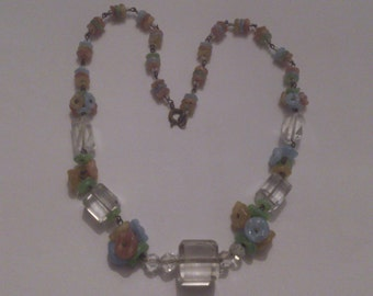 vintage square glass bead and flower necklace